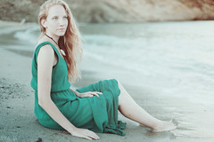 Arouse (Marga Lpez) Tags: sunset sea seascape beach beauty canon model artistic calm collar menorca blondhair arouse