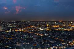 Twilight of Cityscape Bangkok Thailand (Natthawat Jamnapa) Tags: road city travel sky urban building tower water beautiful skyline architecture night canon river landscape thailand temple twilight construction asia cityscape bangkok background landmark 6d templeofthedawn