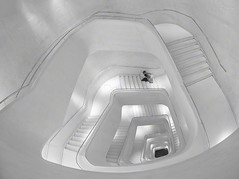 'there isn't any other stair quite like it' (Jon Downs) Tags: madrid show bw white black art monochrome robin museum downs spiral creativity concrete lumix grey mono photo high spain jon key stair flickr artist image forum gray creative picture pic stairway panasonic photograph staircase caixa muppet milne caixaforum aamilne halfwaydownthestairs platinumheartaward gf5 robinthefrog alanalexandermilne jondowns thereisntanyotherstairquitelikeit