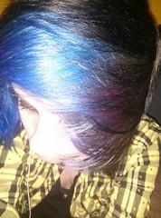 (Hannah Dropdead) Tags: blue girl colorful bluehair blackhair dyedhair scenehair colorfulhair multicolouredhair scenefringe flickrandroidapp:filter=none hannahdropdead