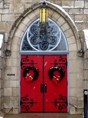 P1020856 (claymore2211) Tags: christmas door winter light red snow building church glass architecture hardware iron stained wreath winner superherochallenge thechallengegroupgame challengegamewinner thumbsupchallenge herowinner