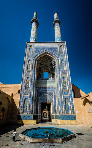 The grand iwan of Jāmeh Mosque of Yazd