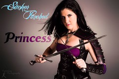 Sucker Punched: Princess Title Card (FightGuy Photography) Tags: leather necklace sara armor weapon sword corset blade dagger buckles broadsword suckerpunched fightguyphotography