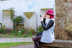 170413_d600_n85_1506_d (jugglingsoot) Tags: street city tree london hat bench hair mirror sitting makeup tights shoreditch trunk churchyard coloured spitalfields dyed fastidious