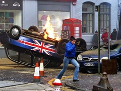 Lights, Camera, Action (Douguerreotype) Tags: street camera uk fiction england people london film car movie fire actors tv britain crash accident taxi crew extras gb 24 drama stunt jackbauer cobbstreet