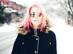 Winter (andreannelupien) Tags: pink winter snow cold glass girl beautiful fashion glasses town pretty wind coat nail pinkhair appartment dyehair