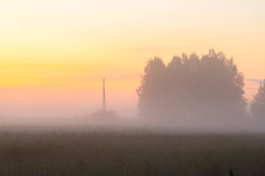 Misty Fields Again (k009034) Tags: sunset summer orange sun mist beautiful weather misty fog barn canon finland landscape photography eos 350d countryside scenery day fields rebelxt beautifulearth matkaniva