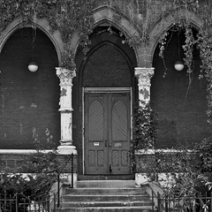 Urban decay | Looking closer (System58.photos by David Alan Kidd) Tags: door urban bw church stairs fence square three cathedral decay kentucky ky symmetry louisville column 500px ifttt