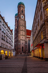Church of Our Lady (Frauenkirche) in Munich at Dawn, Bavaria, Germany (ansharphoto) Tags: street old city morning travel vacation two urban building tower history clock tourism church monument electric skyline architecture lady facade germany munich bavaria dawn lights town twilight europe european cityscape cathedral traditional famous mary capital religion gothic culture landmark medieval illuminated german dome munchen onion christianity traveling frauenkirche muenchen marien