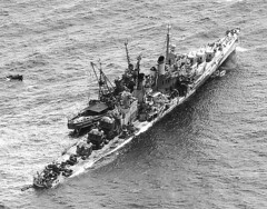 AA cruiser USS Reno after being torpedoed by Japanese bombers near Formosa, Nov 1944