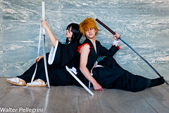 The Warrior Shinigami: Ichigo and Rukia (Walter Pellegrini) Tags: walter italy anime costume nikon sara comic italia cosplay manga bleach videogames convention napoli naples warrior rukia cosplayer samuel comicon ichigo fiera 2014 pellegrini fumetto shinigami yune petrillo d700 donnarumma