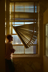 Broken Blinds (imkaifilbey) Tags: nashville tennessee portrait blinds window orange yellow blue sky inside interior