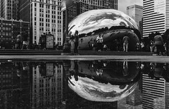 Reflections (Migltellez) Tags: beautiful cityscape exploring a6000 alpha sony perspective peaceful windycity midwest people park urban city clouds blackandwhite reflection reflecting art cloudgate chicago