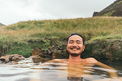 Man + Hiking + Hot Spring = Pure joy! (Sam Spicer Photography) Tags: iceland hotspring onsen natural bath outdoor man happy joy outdoors nature joyful smiling hveragerdi