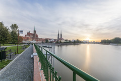 Beautiful morning (Soren Wolf) Tags: cathedral church cathedrals wrocaw wroclaw long exposure morning sunrise sun clouds water poland nikon d7100