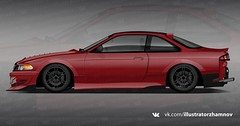 Project: Nissan Silvia s114 (E.Zhamnov) Tags: jzx100 s14 silvia nissan illustrator ai vector vehicle car red