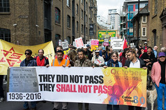 80th Anniversary of the Battle of Cable Street 3 - Marching to the Rally (stevebell) Tags: 80thanniversaryofthebattleofcablestreet gowerswalk whitechapel cablestreet london londoneastend marchandrally banners antifascist antiracist oppositiontofascism 19362016 battleofcablestreet nikond7100 stevebell