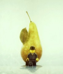 This Is Not A Pear (DeanoNC) Tags: gx7 magritte minifigure bowlerhat lego pear