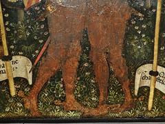 1432 - 'ex-voto to St. Francis of Assisi' (Antonio Orsini), Ferrara, Muse des Arts Dcoratifs, Paris, France (roelipilami) Tags: 1432 ex voto exvoto st saint francis assisi francisco franz franciscus francois assise ferrara ferrare antonio orsini carminati coronation master museum muse des arts les dcoratifs paris armor armour armatura armadura harnas rstung shield knight embrace flowers renaissance painting nun dagger sword