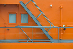 Ship Abstract (OneEighteen) Tags: houston ship channel houstonshipchannel pilot harbor port nautical marine maritime σκάφοσ 船 schiff schip nave navire корабль oneeighteen louvest stairs ladders orange grey abstract