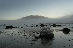 Morning landscape (Thai Font Issue) Tags: select fog beach rocks morning norway nordland wet mood blue landscape
