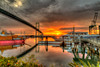 Golden Harbor Lights (Michael F. Nyiri) Tags: sanpedroca southerncalifornia california vincentthomasbridge harbor losangelesharbor sunrise morning clouds catalinaexpress cloudsstormssunsetssunrises