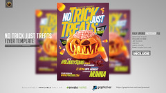 No Trick Just Treat Flyer Template (prassiod) Tags: blood club costume costumeparty creepy event evil halloween halloweenflyer halloweenparty haunted hauntedhouse holiday horror hunters nightclub october party poster prassiod pumpkin scary show template thriller trickortreat