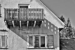Balcony Shadow (wibblux) Tags: bw badenwrttemberg balcony street village wall