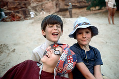 35-281 (ndpa / s. lundeen, archivist) Tags: nick dewolf nickdewolf color photographbynickdewolf 1970s 1973 1972 film 35mm 35 reel35 arizona northernarizona southwesternunitedstates canyon marblecanyon grandcanyon coloradoriver raftingtrip raftingexpedition rafting river riverrafting people children kids child girl boy boys nicole quentin hat glasses eyeglasses face faces smile smiling smiles