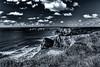 Monochrome (Explored) (Esox2402) Tags: bw monochrome coast sea rocks cliff grass clouds sky canon waves