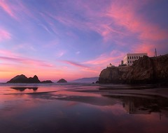 Mellow Hues at Ocean Beach (RZ68) Tags: cliff house sutro baths ruins san francisco color sunset pink blue low tide reflection pools wet sand beach ocean seal rocks camera obscura rz67 velvia provia e100 sky clouds high water coast