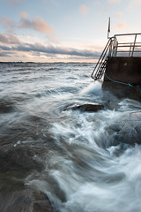 The small pier (- David Olsson -) Tags: skutberget karlstad sweden värmland lake vänern water rocks stones pier pir ladder badstege railing flowing movement motion waves windy clouds landscape seascape outdoor leefilters 06hard gnd grad nikon d800 1635 1635mm 1635vr vr fx davidolsson 2016 november
