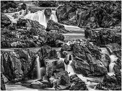 Rocky Falls (b&w) (jiroseM43) Tags: water waterfalls greatfalls potomac potomacriver greatfallsnationalpark 35100mm lumix panasonic gx7 nature