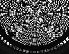 The Dark Side Of The Moon (Ren-s) Tags: blackandwhite moon lune vitre glass fentre windows metal verrire glassroof roof bruxelles belgium belgique europe circles cercles squares carrs architecture building batiment cables ropes cordes cbles minimalist minimalisme abstract abstrait gomtrique gomtrie boussole compass geometric geometry