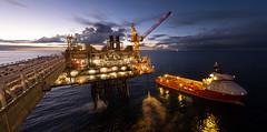 Offload ([ Jaso ]) Tags: energy offshore oilandgas ship sea ocean crane sunset bluehour rx100 sony bridge seascape work industry