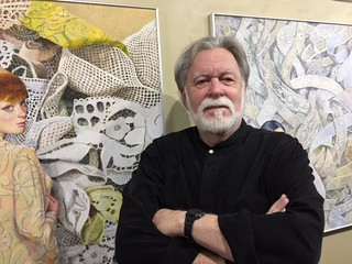 Artist RC Bailey at the opening of his show at the Coconut Grove festival gallery.