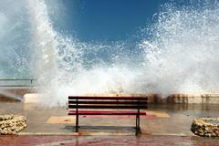 Splash (Alan1954) Tags: malta gozo holiday 2012 wave bench nature water marsalforn platinumheartaward