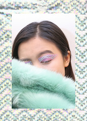 Gleam (Frances Sousa) Tags: fashion editorial pastel holographic mint green faux fur makeup eye crystals gems style stylist