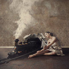capturing inspiration (brookeshaden) Tags: old wallpaper abandoned train soft peeling room smoke traintracks surreal magical derelict whimsical fineartphotography surrealphotography conceptualphotography peelingwallpaper lucyschwartz brookeshadenphotography