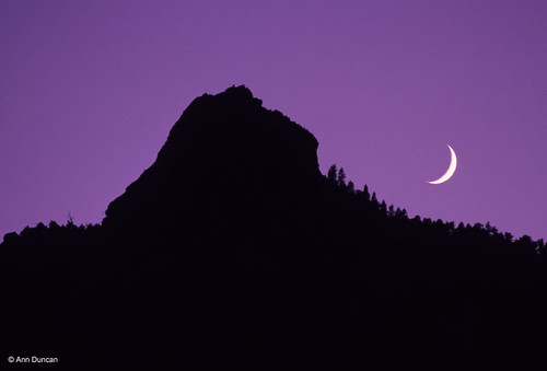 Photo - Crescent moon hangs over the First Flatiron (not retouched!)