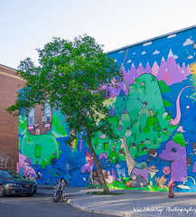 tree and mural in Plateau Mont-Royal (Vic Zhivago) Tags: urban streetart tree quebec montreal plateaumontroyal