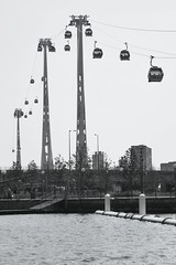 London's Cable Car - 4 (gary8345) Tags: bw white black london cablecar docklands eastlondon londonist 2013