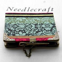 Pugin hard-bound Needlebook (Wychbury Designs) Tags: bronze vintage book handmade sewing victorian craft pins medieval fabric needle needles bookbinding needlebook