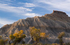Bentonite Butte (Utah Desert Photography) Tags: autumn trees mountain tree fall abandoned utah ut butte hill dry erosion cottonwood mineral lonely badlands geology mesa isolated eroded desiccated parched geological bentonite geologic caineville sanrafaeldesert