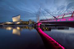 Colour Quayed....... (Digital Diary........) Tags: uk manchester canal salfordquays bluehour quays lowry imperialwarmuseum iwm goodlight