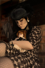 Imogen and Me (MarthaBat) Tags: portrait brown selfportrait birdcage girl female vintage myself blood nikon doll moody fineart rustic victorian inspired atmosphere fishnet retro parasol teenager cameo lowkey moods steampunk selfie creepydoll d600 nikon247028 brookeshaden