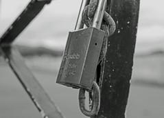 Padlock safe (Flimin) Tags: blackandwhite canon fence lock depthoffield chain 40mm padlock shallowdof smalldof pancakelens 70d thephotographyblog ef40mmf28 40mmstm