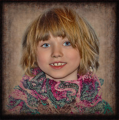 Girl with the Blue Eyes (jta1950) Tags: family portrait people cute texture girl kids children person kid child framed adorable littlegirl enfant fille younggirl 7yearold
