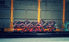 DARK (YardJock) Tags: dark graffiti mines spraypaint piece burner freighttrain railwaytracks autorack fst rollingstock benching paintedsteel benchreport