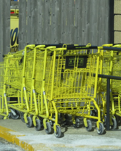 Yellow shopping carts belong to the Dollar General Stores.